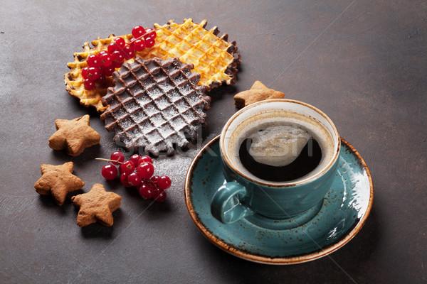 Stockfoto: Koffie · snoep · steen · tabel · voedsel · chocolade