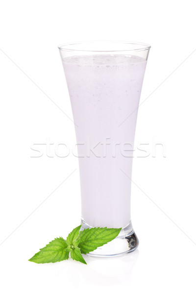 Blackberry milk smoothie with mint Stock photo © karandaev