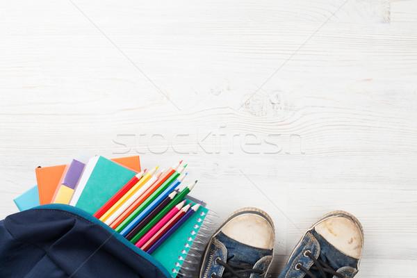 школьные принадлежности деревянный стол Снова в школу копия пространства служба работу Сток-фото © karandaev
