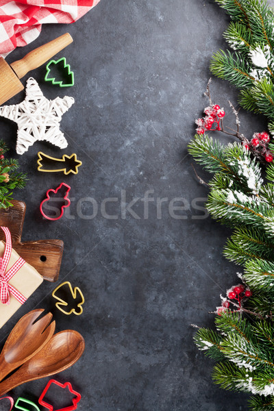 Christmas cooking utensils and snow tree Stock photo © karandaev