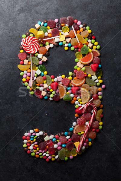 числа девять конфеты Sweet темно Сток-фото © karandaev