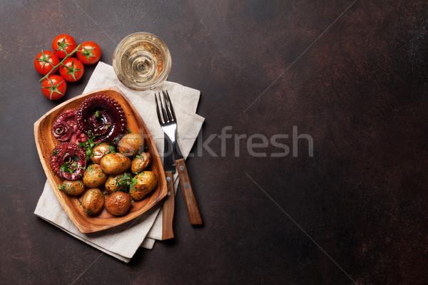 гриль осьминога небольшой картофель вино травы Сток-фото © karandaev