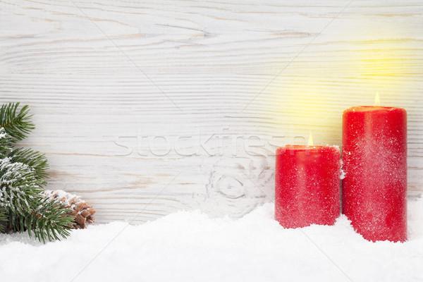 Noël bougies branche couvert neige Photo stock © karandaev