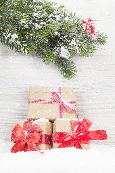 Stok fotoğraf: Noel · hediye · kutuları · noel · şube · ağaç