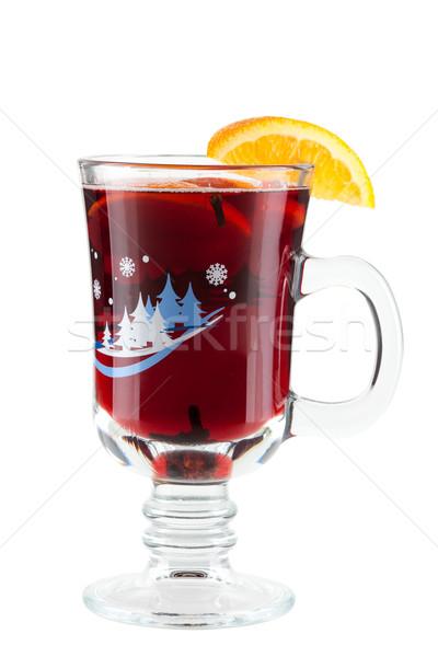 Mulled wine (Punch) with orange slices Stock photo © karandaev