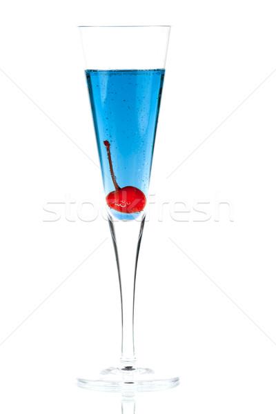 Blue Champagne alcohol cocktail with maraschino Stock photo © karandaev
