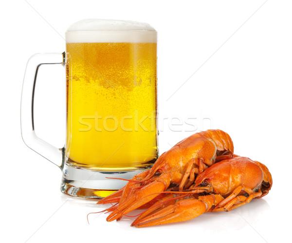 Beer mug and boiled crayfishes Stock photo © karandaev