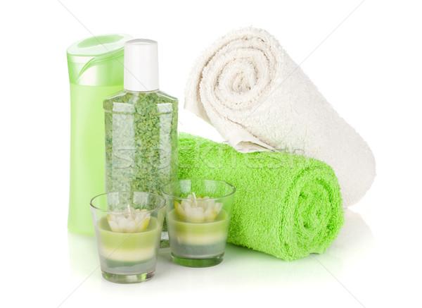 Bathroom bottles, towels and candles Stock photo © karandaev