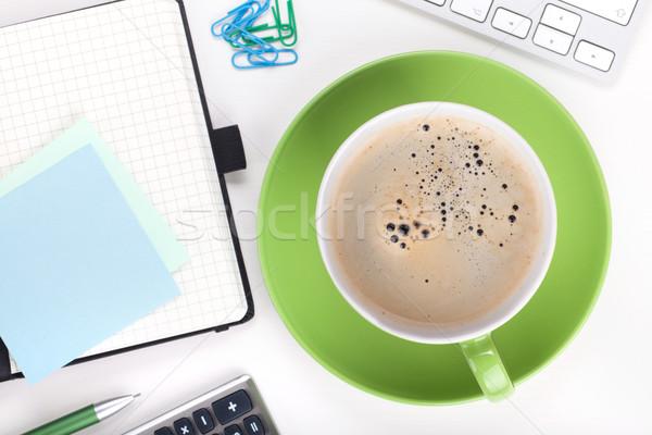 Stock fotó: Kávé · irodaszerek · felülnézet · közelkép · fehér · üzlet