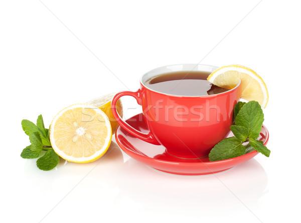 Piros teáscsésze citrom menta izolált fehér Stock fotó © karandaev
