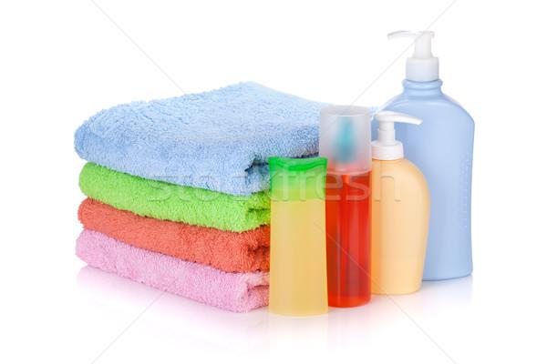 Stock fotó: Kozmetika · üvegek · törölközők · izolált · fehér · test