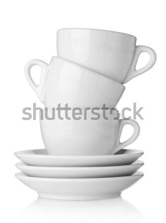Kávéscsészék fehér izolált konyha kávézó konténer Stock fotó © karandaev