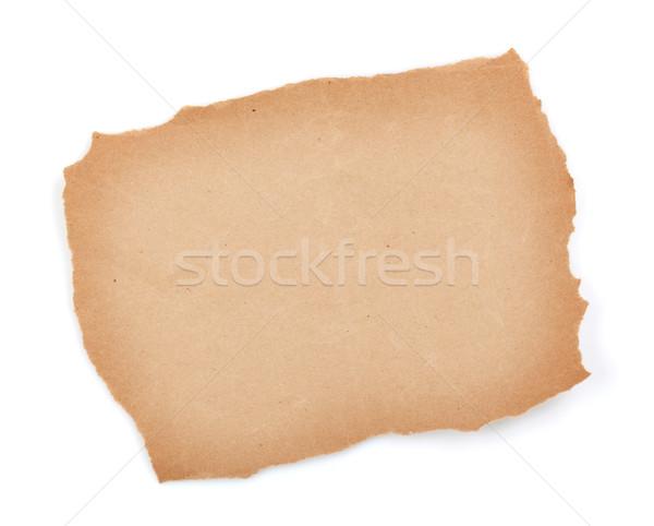 Papel pardo folha isolado branco projeto fundo Foto stock © karandaev