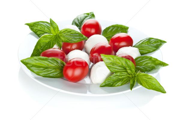 Caprese salatası yalıtılmış beyaz gıda yaprak arka plan Stok fotoğraf © karandaev
