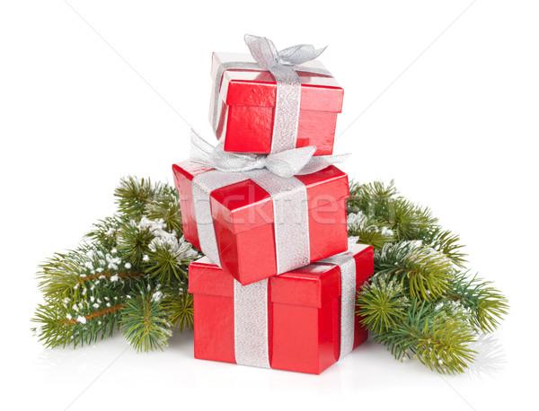 Foto stock: Três · natal · caixas · de · presente · isolado · branco · papel