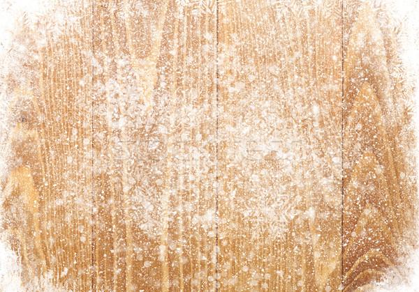 Régi fa textúra hó karácsony fa fal Stock fotó © karandaev