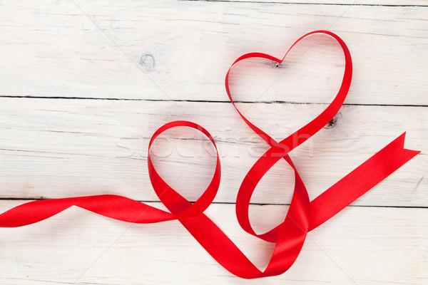 Stock fotó: Valentin · nap · szív · alakú · szalag · fehér · fa · asztal