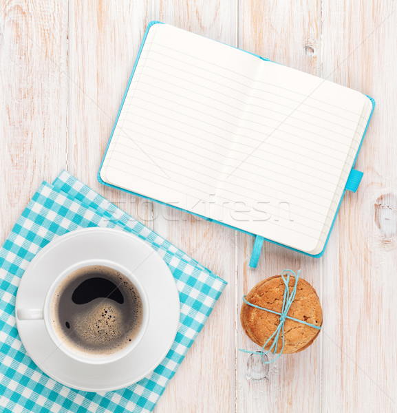 Coffee, cookies and notepad Stock photo © karandaev