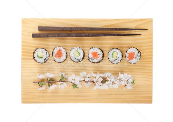 Sushi maki ayarlamak somon salatalık sakura Stok fotoğraf © karandaev