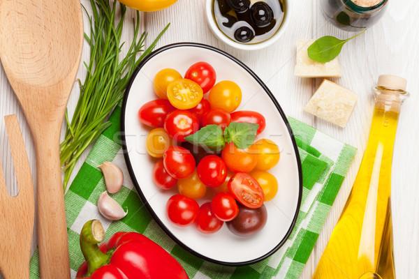 итальянской кухни приготовления Ингредиенты овощей сыра специи Сток-фото © karandaev