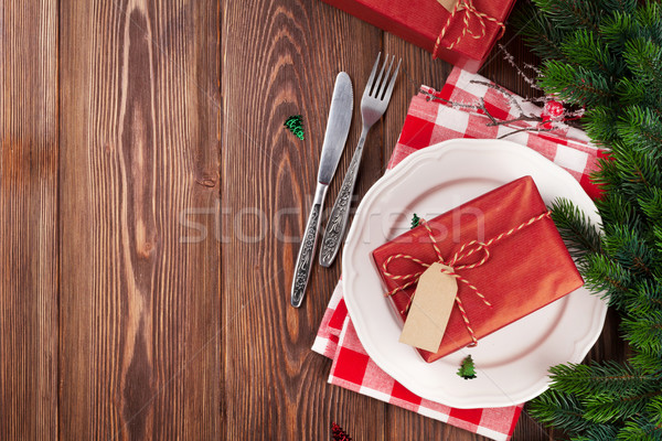 Christmas Table Setting With Gift Box And Fir Tree Stock