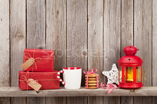 Stock photo: Christmas candle lantern, gifts and decor