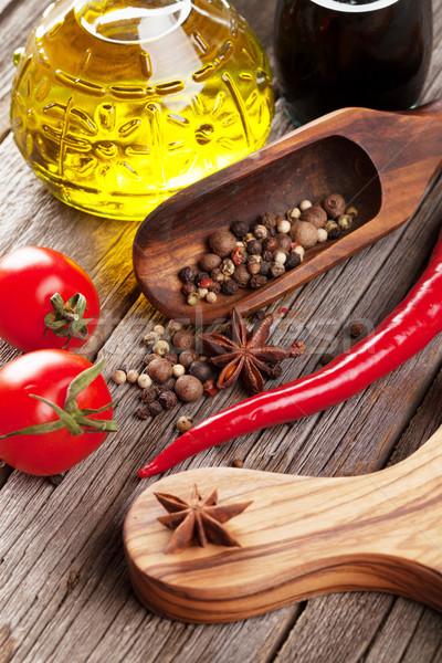 Especias mesa de madera alimentos madera naturaleza Foto stock © karandaev