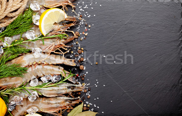 Fresh prawns with spices Stock photo © karandaev