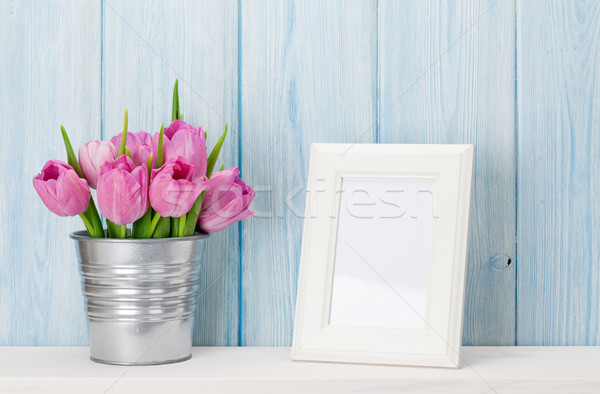 Fresco rosa tulipas buquê photo frame tulipa Foto stock © karandaev