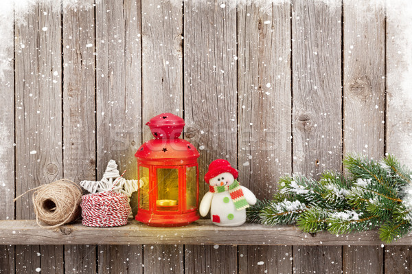 Сток-фото: Рождества · свечу · фонарь · дерево