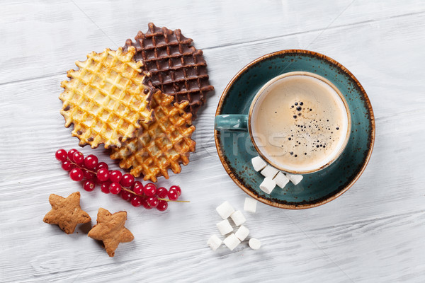 Caffè dolci top view alimentare cioccolato Foto d'archivio © karandaev