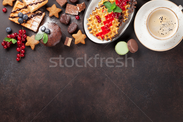 Coffee with waffles and sweets Stock photo © karandaev