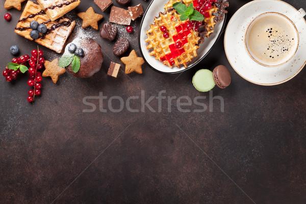 Café doces topo ver cópia espaço comida Foto stock © karandaev