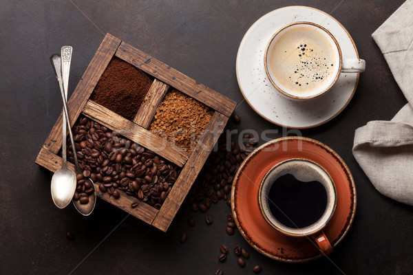Coffee cup, roasted beans and ground coffee Stock photo © karandaev