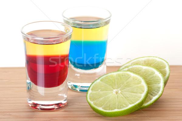 Lövés koktél gyűjtemény piros kék tequila Stock fotó © karandaev