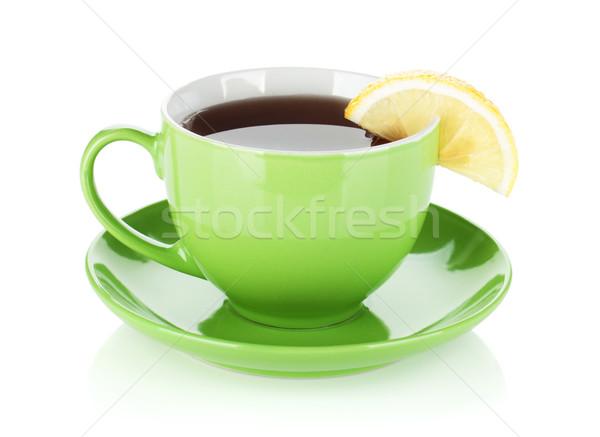 зеленый чай Кубок изолированный белый кофе Сток-фото © karandaev