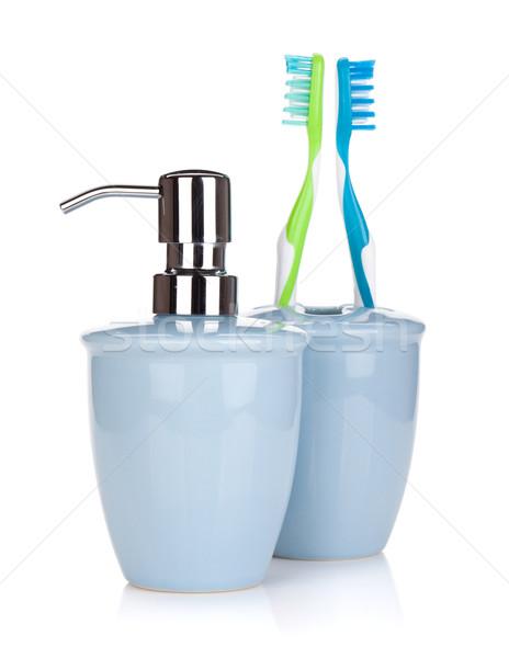 Foto stock: Dois · colorido · líquido · sabão · isolado · branco