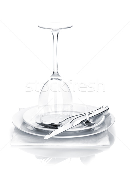 Argenterie verre de vin plaques isolé blanche Photo stock © karandaev