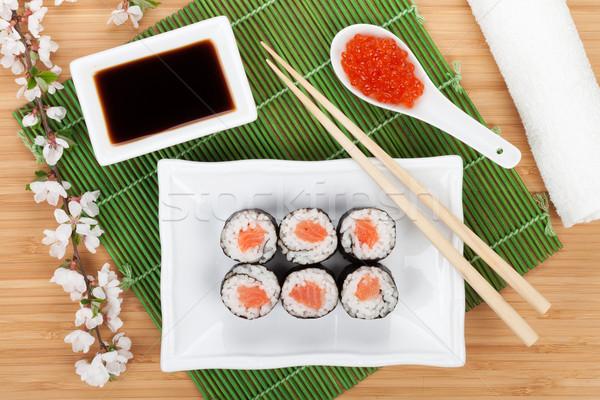 Stock fotó: Piros · kaviár · szusi · szett · sakura · ág
