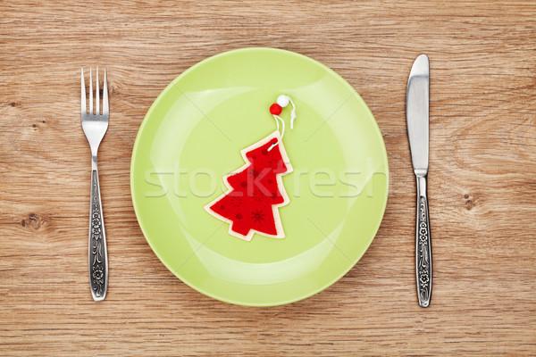 Karácsony dekoráció tányér ezüst étkészlet fa asztal étel Stock fotó © karandaev