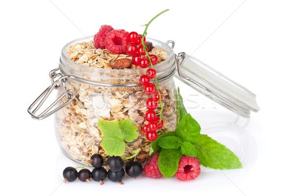 Colazione muesli frutti di bosco isolato bianco vetro Foto d'archivio © karandaev