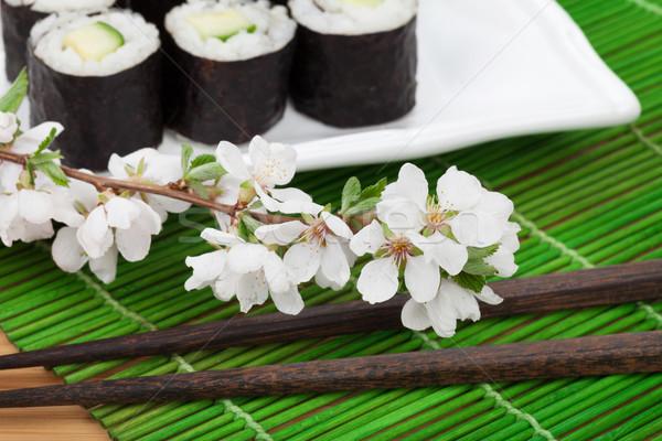 суши маки набор сакура филиала бамбук Сток-фото © karandaev