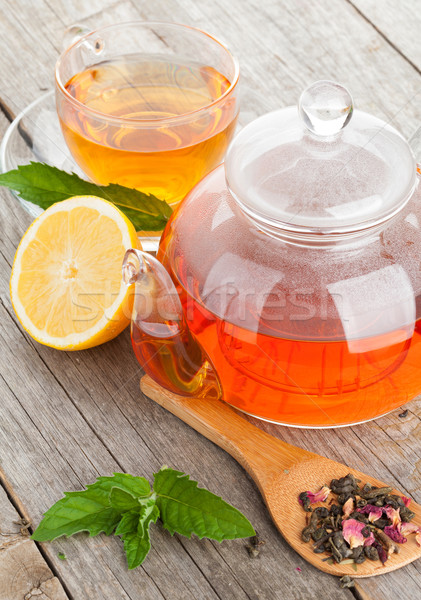 ストックフォト: 緑茶 · レモン · ミント · 木製のテーブル · 表 · 緑