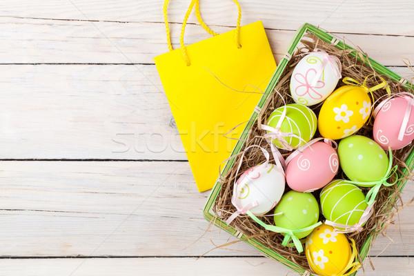 Húsvét színes tojások ajándék táska fehér Stock fotó © karandaev
