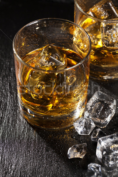 Glasses of scotch whiskey with ice Stock photo © karandaev