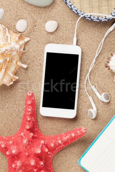 Photo stock: Smartphone · mer · sable · starfish · obus · haut