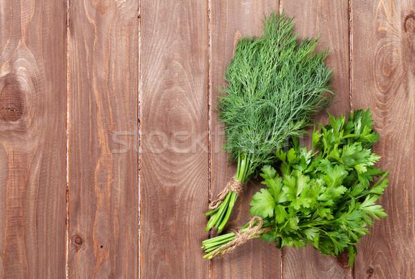 ストックフォト: 新鮮な · 庭園 · パセリ · ハーブ · 木製のテーブル · 先頭