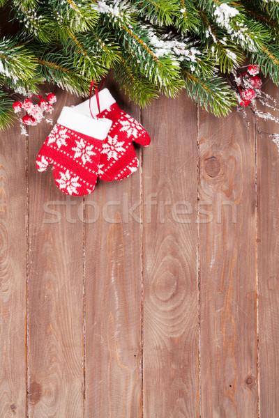 Navidad decoración nieve mitones Foto stock © karandaev