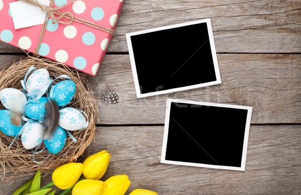 Paskalya fotoğraf kareler mavi beyaz yumurta Stok fotoğraf © karandaev