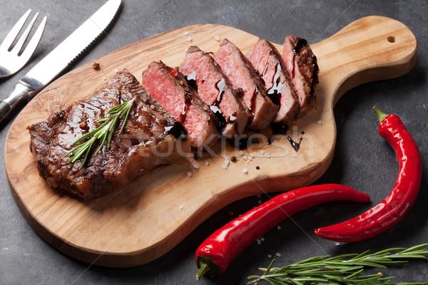 Grilled striploin steak Stock photo © karandaev